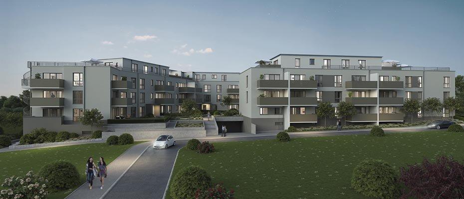 """DIE ZWEI Niederdorfelden - In Niederdorfelden entstehen in attraktiver Lage des neuen Baugebiets """"Im Bachgange"""" 2 moderne Wohngebäude. Das Neubau-Projekt """"DIE ZWEI Niederdorfelden"""" verfügt über insgesamt 59 Eigentumswohnungen. Der Verkaufsstart für die 1- bis 4-Zimmer-Wohnungen ist erfolgt. Hermann Immobilien vermarktet die Einheiten mit Wohnflächen von 28,28 m² bis 119,16 m². Zu jeder Wohnung gehört eine Terrasse, ein Balkon oder eine Dachterrasse. Im Erdgeschoss punkten die Einheiten teilweise mit einem Privatgarten. Hochwertige Projekthighlights sind eine Fußbodenheizung, Design-Vinyl in Parkettoptik, Glasfasertapete und moderne Bäder mit Handtuchheizkörper. Weitere Details sind elektrische Rollläden und eine Videogegensprechanlage. Komfort spendet der Aufzug, der von der Tiefgarage und dem Keller bis in alle Wohnetagen fährt."""